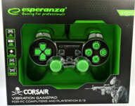 Corsair Gamepad Esperanza GX500 (PC/PS2/PS3) čierno-zelený